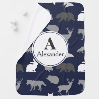 Modern Woodland Animal Silhouettes Baby's Name Baby Blanket