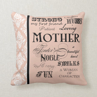 Modern Word Cloud Mother Text Sayings - Blush Cushion