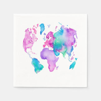 Modern world map globe bright watercolor paint disposable napkins