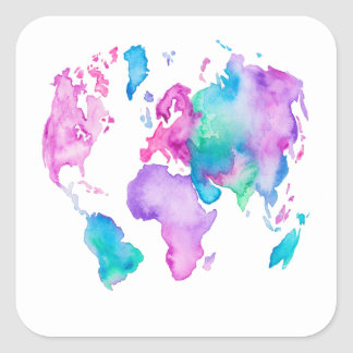 Modern world map globe bright watercolor paint square sticker