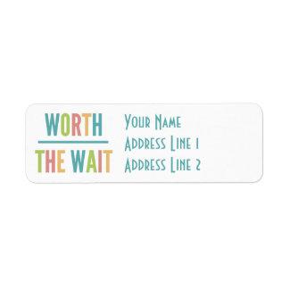 Modern Worth the Wait - Adoption, New Baby Return Address Label