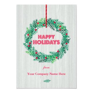Modern Wreath Corporate Holiday Card
