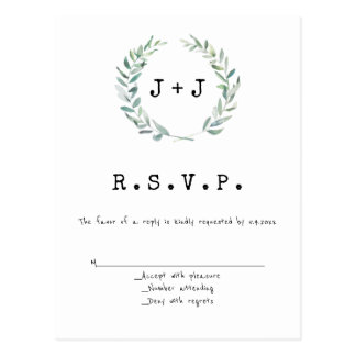 Modern wreath wedding RSVP cards
