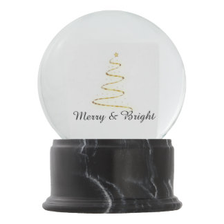 Modern Xmas tree in golden and white Snow Globe
