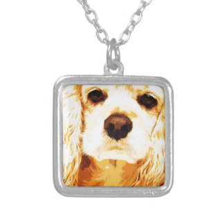modern yellow American cocker spaniel Silver Plated Necklace