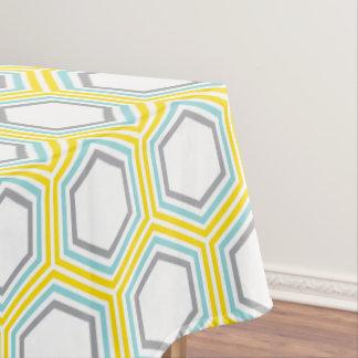 Modern Yellow and Aqua Geometric Pattern Tablecloth