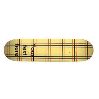 Modern yellow and blue plaid 18.1 cm old school skateboard deck