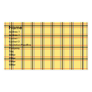 Modern yellow and blue plaid business card