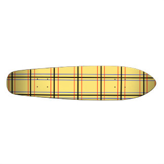 Modern yellow and blue plaid skateboard decks