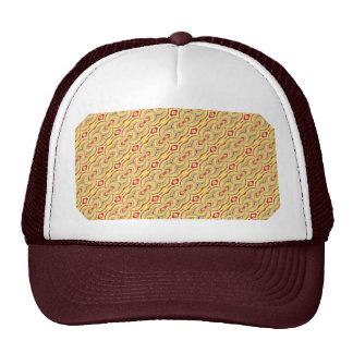 Modern Yellow and Brown Chains Pattern Hats
