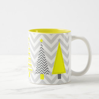 Modern Yellow and Gray Christmas Trees Mug