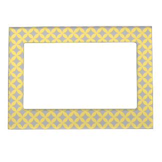 Modern Yellow and Gray Circle Pattern Magnetic Picture Frame