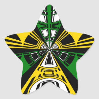 Modern yellow and green circle pattern star stickers