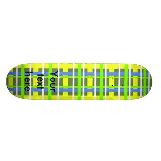 Modern yellow and green plaid 21.6 cm old school skateboard deck