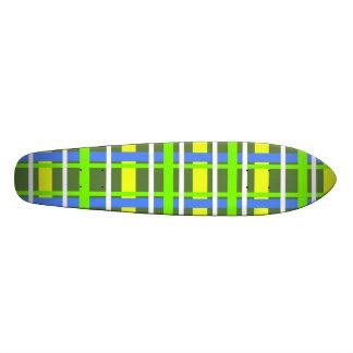 Modern yellow and green plaid skate board