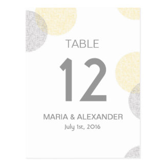 Modern yellow and grey Circle Wedding table number Post Card