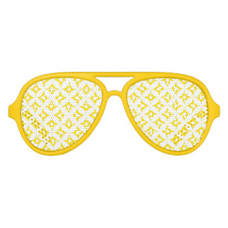 Modern Yellow and White Circle Polka Dots Pattern Aviator Sunglasses