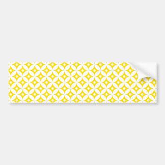 Modern Yellow and White Circle Polka Dots Pattern Bumper Sticker