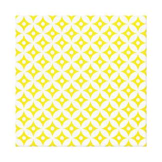 Modern Yellow and White Circle Polka Dots Pattern Canvas Print