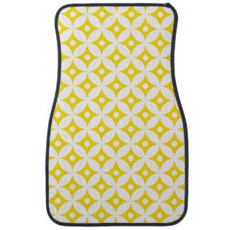 Modern Yellow and White Circle Polka Dots Pattern Car Mat
