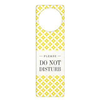 Modern Yellow and White Circle Polka Dots Pattern Door Hanger