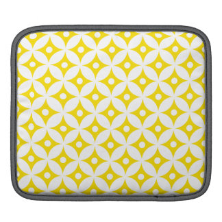 Modern Yellow and White Circle Polka Dots Pattern iPad Sleeve