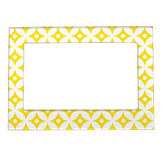 Modern Yellow and White Circle Polka Dots Pattern Magnetic Frame
