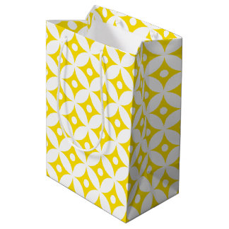 Modern Yellow and White Circle Polka Dots Pattern Medium Gift Bag