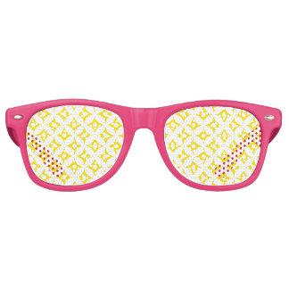 Modern Yellow and White Circle Polka Dots Pattern Retro Sunglasses