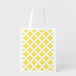 Modern Yellow and White Circle Polka Dots Pattern Reusable Grocery Bag