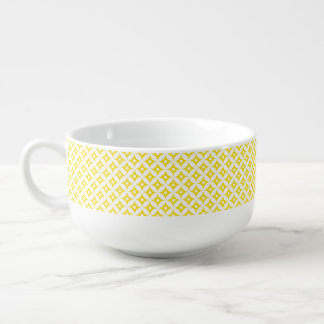 Modern Yellow and White Circle Polka Dots Pattern Soup Mug