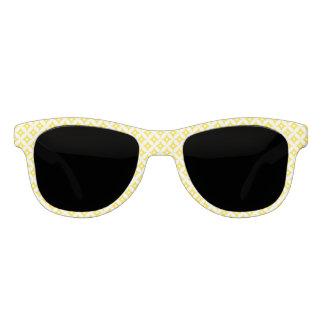 Modern Yellow and White Circle Polka Dots Pattern Sunglasses
