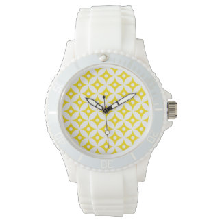 Modern Yellow and White Circle Polka Dots Pattern Watch