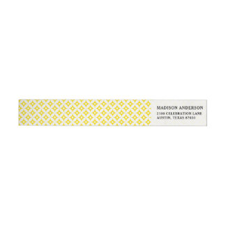 Modern Yellow and White Circle Polka Dots Pattern Wrap Around Label