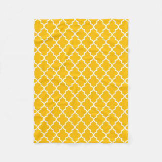 Modern Yellow and White Moroccan Quatrefoil Fleece Blanket