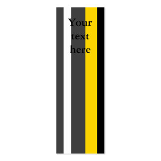 Modern yellow black gray and white stripes pack of skinny business cards
