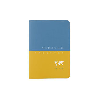 modern yellow/blue (with name and initials) travel passport holder
