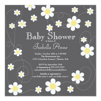 Modern Yellow Flowers Floral Neutral Baby Shower 5.25x5.25 Square Paper Invitation Card