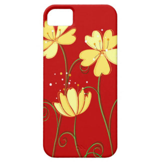 Modern  Yellow Flowers On Red Case For The iPhone 5