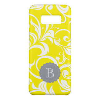 Modern Yellow Gray Floral Wallpaper Swirl Monogram Case-Mate Samsung Galaxy S8 Case
