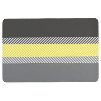 Modern Yellow & Gray Geometric Stripes Pattern Floor Mat