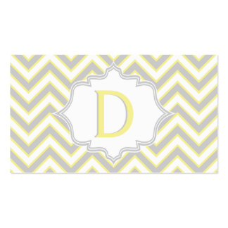Modern yellow, grey chevron monogram personalized business card templates