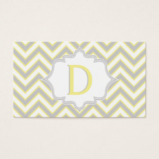 Modern yellow, grey chevron monogram personalized business card