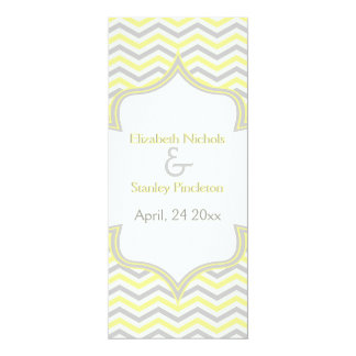 Modern yellow grey chevron zigzag wedding program 10 cm x 24 cm invitation card