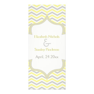 Modern yellow grey chevron zigzag wedding program personalized invite