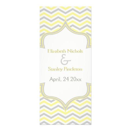 Modern yellow grey chevron zigzag wedding program personalized invite