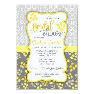 Modern Yellow & Grey Elegant Bridal Shower 11 Cm X 16 Cm Invitation Card