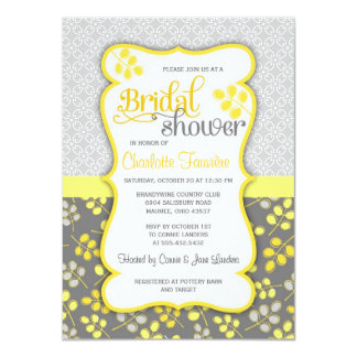 Modern Yellow & Grey Elegant Bridal Shower Custom Invitations