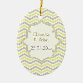 Modern yellow, grey, ivory chevron pattern custom ceramic oval decoration