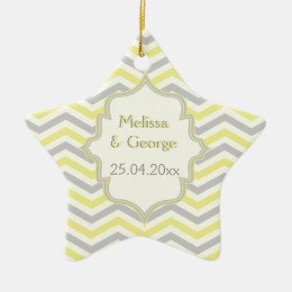 Modern yellow, grey, ivory chevron pattern custom ceramic star decoration